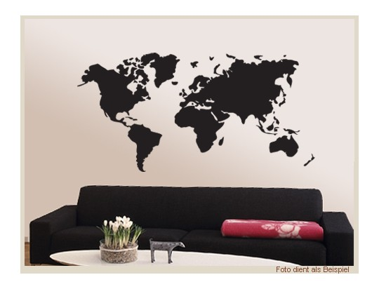 wandtattoo wandtattoos wohnzimmer weltkarte erde skyline. Black Bedroom Furniture Sets. Home Design Ideas