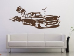 Wandtattoo - US Car mit Flamme