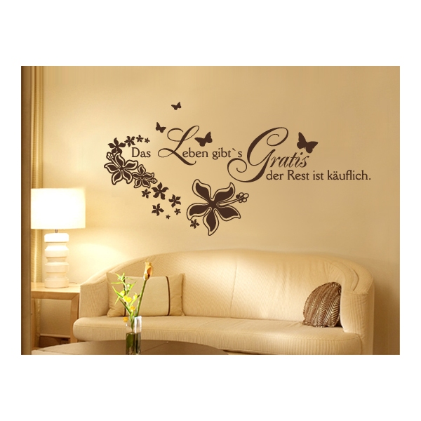 wand tattoos spruch leben motivation wandspruch. Black Bedroom Furniture Sets. Home Design Ideas
