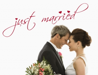 Wandtattoo - just married