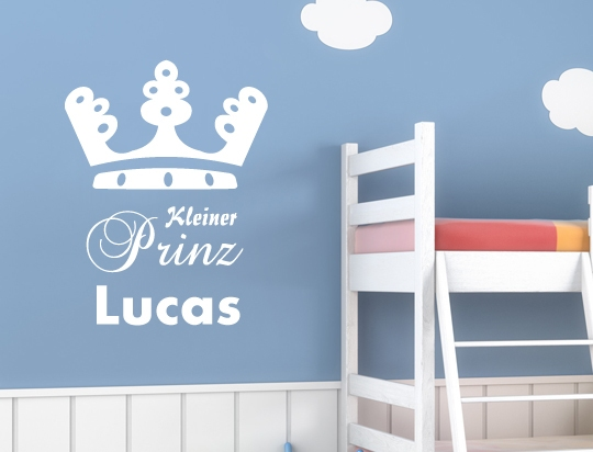 wandtattoo kleiner prinz wunschname jungenzimmer plusphoenix design. Black Bedroom Furniture Sets. Home Design Ideas